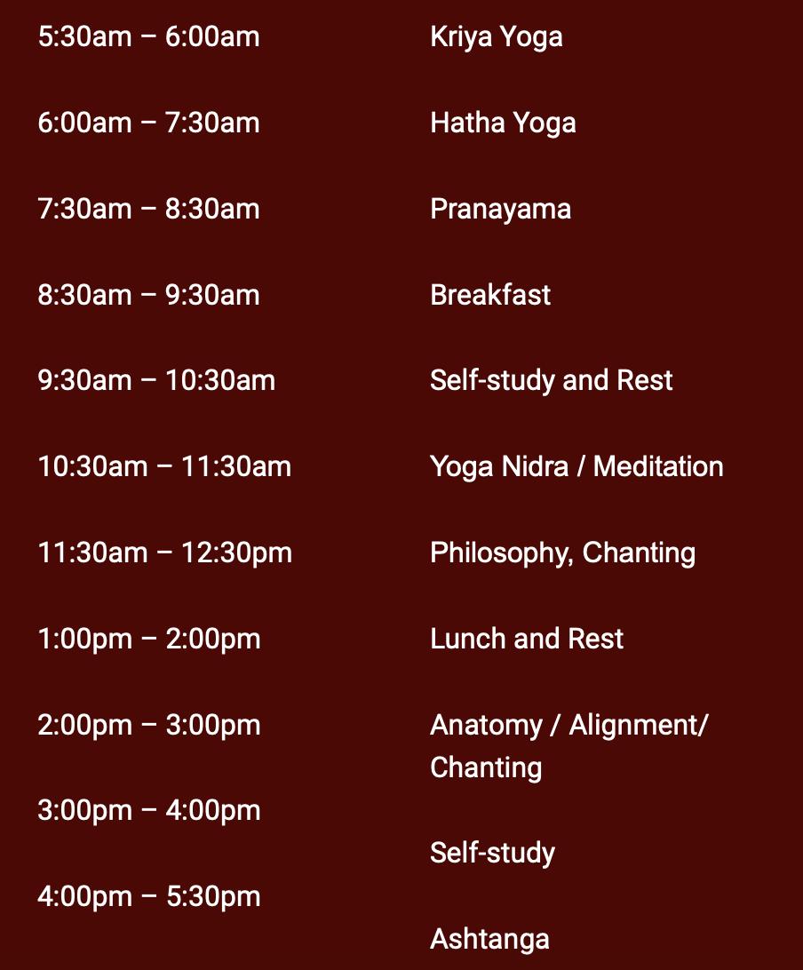 Yoga Ausbildung Zeitplan